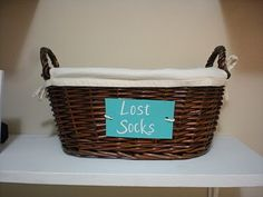 Lost sock basket for laundry room
