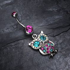 Jeweled Sparkling Owl Dangle Belly Ring #piercing #bellyring #navelring