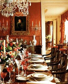 Love the rust colored walls/ Dining room - English Country House style