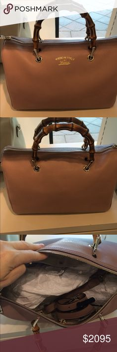 NWT Gucci Satchel Nwt Gucci Handbag with bamboo handles and removable shoulder strap. Stunning in brown classic! Comes with dust bag and ships quickly! Gucci Bags Satchels