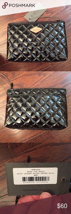 MSRP $385 MZ WALLACE Marlena Dazzle Blue Nylon Leather Trim Flap Backpack