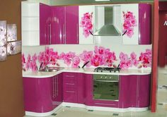 Хозяйка Purple Kitchen Cabinets, Moduler Kitchen, Kitchen Cupboard Designs, Cocinas Kitchen, Kitchen Room Design, Luxury Kitchen Design, Kitchen Cupboards, Kitchen Layout, Home Decor Kitchen