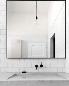 Slim line black wall mirror …