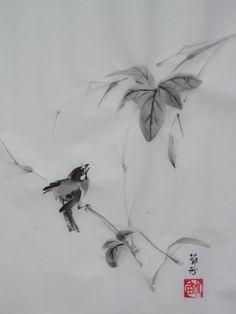aquarelle,sumie,sumi-e,encre,peinture cinoise, peinture japonaise,oiseaux,abby
