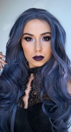 Authentic Quality Human Hair Full Lace Wigs Various Hairstyles Available Toner For Brown Hair, Natural Hair Styles, Long Hair Styles, Hair Color Dark, Ash Blue Hair, Blue Steel Hair, Dyed Hair Blue, Gray Hair, Hair Dos