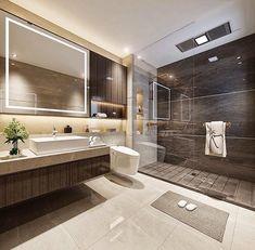 creme et chocolat pour cette salle de bain #bathroom #doucheitalienne