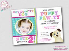 Puppy Paw-ty - Dog Theme Birthday Party Invitation