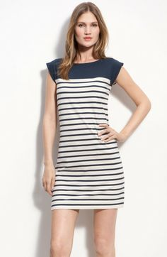 French Connection Blue Stripe Knit Cap Sleeve Sheath Dress