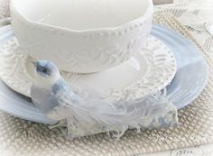 Love Blue, Red White Blue, Green And Grey, Blue Butterfly, Blue Bird, Blue Table Settings, Blue Bunny, White Cottage, Easter Celebration
