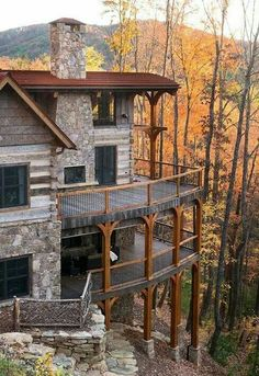 Winterwoods Luxury Log and Timber Frame Homes. Another one that reminds me of the double decks at Mohonk Mountain House Style At Home, Future House, Timber Frame Homes, Timber Frames, Timber House, Wooden House, Log Cabin Homes, Log Cabins, Mountain Homes