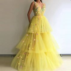 evening dresses Cheap Evening Dresses, Buy Directly from China Suppliers:Yellow Tulle Evening Dresses Gorgeous Robe De Soiree Long Evening Gowns V Neck Custom made Floral Formal Dress Yellow Evening Dresses, Yellow Wedding Dress, Lace Evening Gowns, Dress Wedding, Cheap Evening Dresses, Yellow Gown, Tulle Prom Dress, Prom Dresses, Floral Dresses