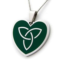 Green Celtic Heart Necklace