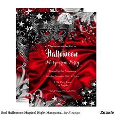 Shop Red Halloween Magical Night Masquerade Party Invitation created by Zizzago. Masquerade Party Invitations, Quinceanera Invitations, Halloween Invitations, Zazzle Invitations, Birthday Party Invitations, Creepy Halloween Party, Halloween Masquerade, Masquerade Masks, Corporate Invitation