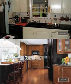 The closed-off design of the homeowner's previous kitchen was remedied with careful layout planning and by adding more natural light into the space. The updated kitchen with Homecrest cabinets is warm, spacious and inviting.