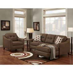 Sofa Trendz Bey Brown Microfiber Sofa Chaise and Chair (Set of 2)