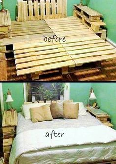 Here in the picture below you can see a before and after of the bed, the bed in the picture has been made from the wooden palette but then it has been decorated with the white bed sheet, it is looking just like a normal bed that one can buy from the market.