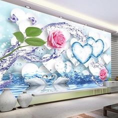11.58$  Buy here - Custom Wall Mural Modern Fashion Romantic Love Heart Rose Flower White Swan Wedding Room Bedroom TV Background Photo Wallpaper  #aliexpressideas
