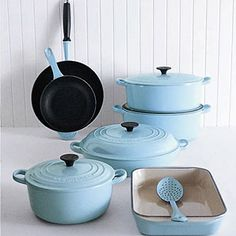 Le Crueset in duck egg blue, next buy for the new kitchen. My old faithful casserole dish bought by my mum