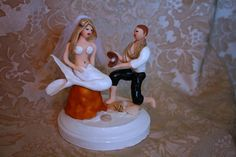 5 Mermaid and Prince bride and groom Wedding cake by CrimsonMuse
