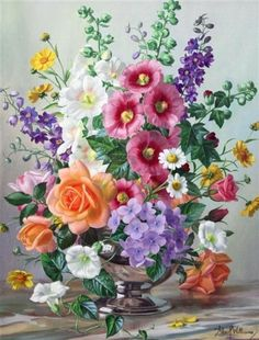 Artwork by Albert Williams, Summer flowers in a silver bowl, Made of oil on canvas