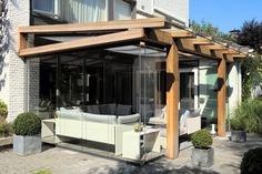 Pergola Connected To House Outdoor Rooms, Outdoor Living, Outdoor Decor, Garage Canopies, New Patio Ideas, Pergola Ideas, Rustic Pendant Lighting, Outside Room, Building A Pergola