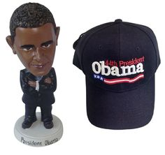 President Obama Bobblehead- Comes in it's own Gift Box + One size fits all Cap