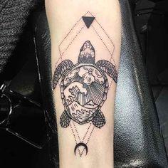 Tribal Turtle Tattoos, Turtle Tattoo Designs, Tattoo Sleeve Designs, Time Tattoos, Leg Tattoos, Body Art Tattoos, Sleeve Tattoos, Tatoos, Rose Tattoos For Women