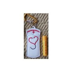 In The Hoop :: Key Rings, Key Fobs :: Nurse Key Ring Chapstick Holder - Embroidery Garden In the Hoop Machine Embroidery Designs