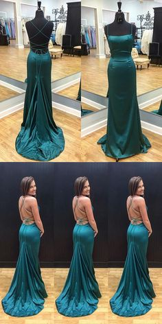 Sexy Straps Mermaid Long Dark Teal Prom Dress Evening Dress with criss cross back