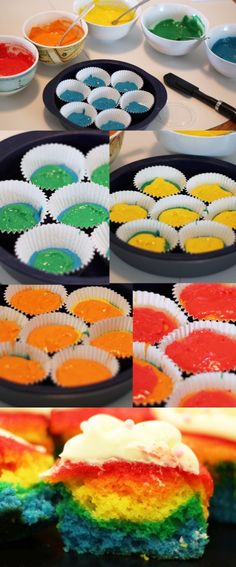 rainbow cupcakes, must do for Emily's Next Birthday