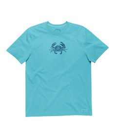 Look what I found on #zulily! Turquoise Blue Stamped Crab Crusher Tee #zulilyfinds