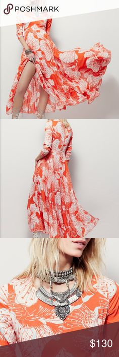 """NWT Free People First Kiss Dress Orange Dream Maxi Style: 27920875 Color Code: 080  Long-sleeved floral printed maxi. Button back closure and keyhole opening at top of back. Skirt portion is lined.  Free People NEW WITH TAGS. Size small. SOLD OUT!  100% Rayon Machine Wash Cold Made in the USA Measurements for size Small Length: 54.5"""" = 138.43 cm Bust all around: 32.5"""" = 82.55 cm Waist all around - relaxed: 29.0"""" = 73.66 cm Sleeve Length: 24.5"""" = 62.23 cm Free People Dresses Maxi"""