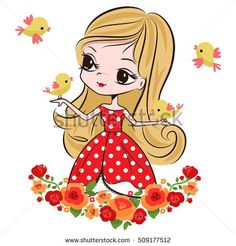 Beauty girl in charming dress with little birds and flower bouquet isolated on white background illustration vector.