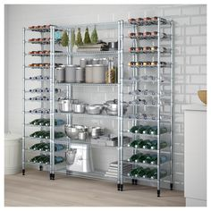 IKEA - OMAR, 3 shelf sections, Easy to assemble – no tools required.Adjustable shelves make it simple for you to adjust the space to suit your needs.With the cover Commercial Kitchen Design, Shelves, Wire Shelving, Ikea, Shelving Unit, Bakery Kitchen, Interior Design Living Room, Ikea Omar, Shelving