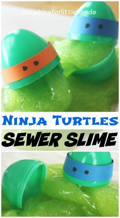 Make our super easy, homemade Ninja Turtle slime with our quick recipe. Also make fun Ninja Turtle eggs to hold the Ninja Turtle slime! Sewer ooze!