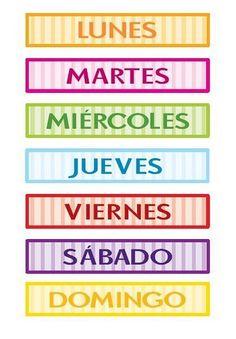 Imprimible. Días de la semana en inglés y castellano. Free ...