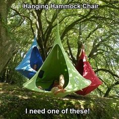 Hanging hammock chair. How much fun would this be for a little kid to play in!?!