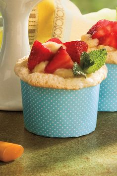 Angel food cake mix is easy to prepare for these cupcakes and leaves plenty of time to make the Vanilla Bean Custard filling from scratch (the delicate flavor is well worth the little bit of effort!). The cake and custard are the perfect complement to juicy summer strawberries. Garnish with fresh mint sprigs.  Recipe:Vanilla-Stuffed Strawberry Cupcakes
