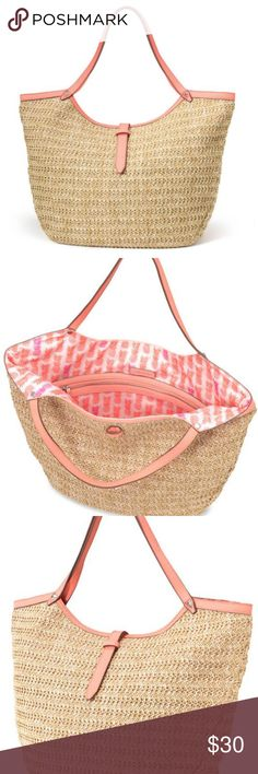 "STELLA & DOT Rivera Coral Natural Straw Raffia STELLA & DOT Rivera Coral Natural Straw Raffia Tote Shoulder Purse Handbag  New without tags popular Stella & Dot purse. Purse is a floppy type purse. :)   12 3/4"" Height 19 1/2"" Top Length 12 3/4"" Bottom Length 4 1/2"" Depth 9"" Handle drop Stella & Dot Bags Totes"
