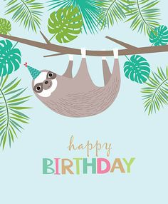Find Happy Birthday Card Cute Sloth stock images in HD and millions of other royalty-free stock photos, illustrations and vectors in the Shutterstock collection. Sloth Happy Birthday, Art Birthday, Happy Birthday Greetings, Birthday Wishes, Birthday Ideas, Cute Sloth, Pajama Party, Cute Animals, Birthdays