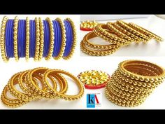 How to make designer silk thread bangles at home - Beaded Tutorial Flower pattern Bead Weaving Silk Thread bangle Place for all your craft desire. Silk Thread Jhumkas, Silk Thread Bangles Design, Silk Thread Necklace, Silk Bangles, Bridal Bangles, Thread Jewellery, Jewellery Making, Diy Jewellery, Silver Jewellery Indian