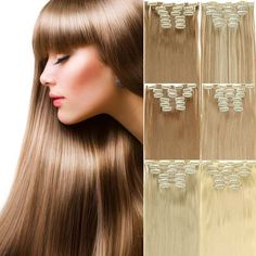 "6pcs/set 23"" 140g 16 Clips in Hair Extensions 20 colors Synthetic Hairpiece Fake Hair Styling clip Straight Hair Piece pad false -- Detailed information can be found by clicking on the VISIT button"