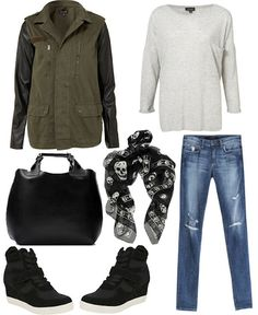 Comfy outfit! #Fall in love with the wedge sneaker! KatalinaGirl.com