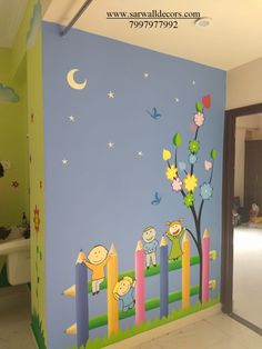 Wall Painting Ideas For Kids Classroom Ideas School Wall Decoration, Classroom Wall Decor, Preschool Classroom Decor, Classroom Walls, School Decorations, Classroom Ideas, Room Wall Painting, Mural Painting, Wall Paintings