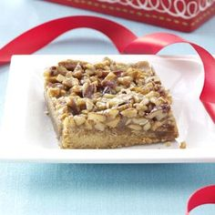 Day Nine of Taste of Home's Thanksgiving Countdown:  Cashew-Pecan Pie Bars Recipe shared by Karen Haen of Sturgeon Bay, Wisconsin