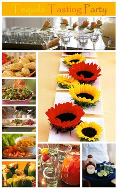 I love the sunflowers! tequila tasting party - fun for quatro de Mayo - since cinco lands on Sunday this year ; Halloween Flower Arrangements, Halloween Flowers, Sunflower Centerpieces, Simple Centerpieces, Wedding Centerpieces, Autumn Centerpieces, Centrepiece Ideas, Graduation Centerpiece, Quinceanera Centerpieces