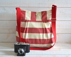 SAIL TOTE -Water Proof /STOCKHOLM Soft Red and Ecru Pleated French Messenger -8 pockets