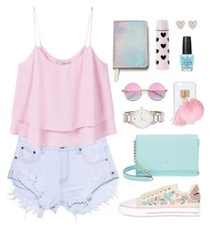 """""""Sweet summertime"""" by celida-loves-pink ❤ liked on Polyvore featuring One Teaspoon, MANGO, Kate Spade, RED Valentino, Ashlyn'd, OPI and New Look"""