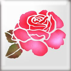 The Stencil Studio Rose Flower Reusable Stencil - Ideal for home decorating projects. Types Of Painting, Stencil Painting, Fabric Painting, Stenciling, Stencil Patterns, Stencil Designs, Stencil Templates, Rose Embroidery, Embroidery Designs