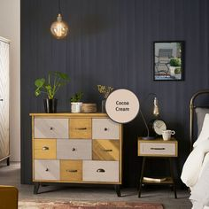 Dark interiors are here for another season! Our Oxford Blue Non-Drip Gloss goes perfectly with a touch of Cocoa Cream Cupboard Paint from our Revive range 🖌 Johnstones Paints, Cream Cupboards, Oxford Blue, Dark Interiors, Dresser As Nightstand, Paint Colors, Colours, Cabinet, Storage